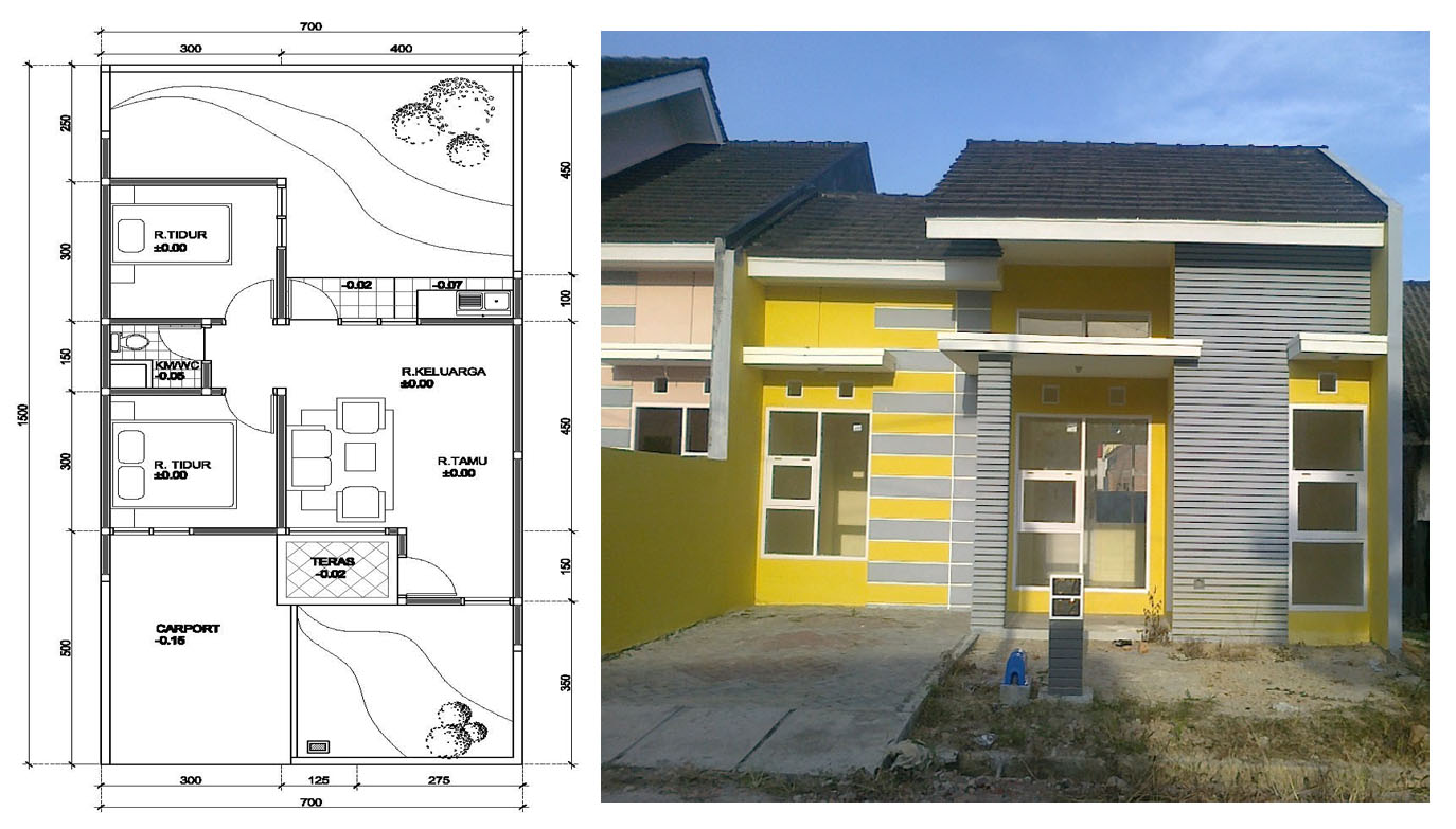 Ini nih gambar denah bentuk dan warna rumah aslinya